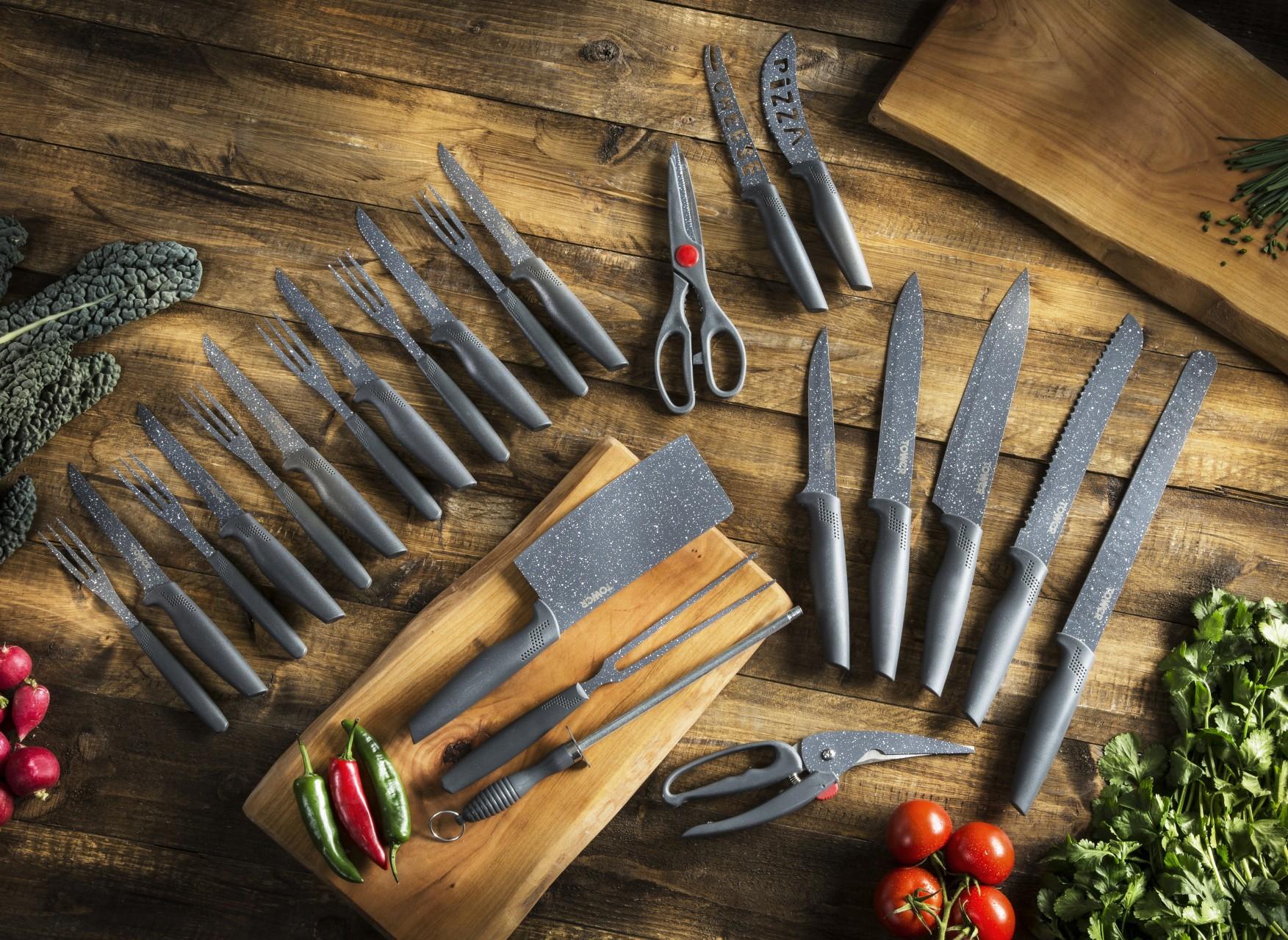 T81521G 24 Piece Grey Stone Knife Set